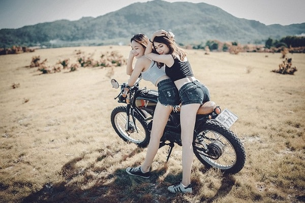 example of horny girls on a bike