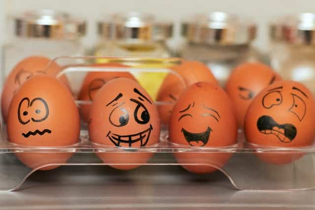 girls need to feel all sorts of emotions - as seen drawn on these eggs - in order to chase after a guy